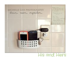 Use a bathroom suction-cup basket to hold phones for charging. My Blue Daisy...