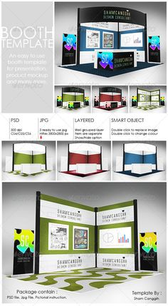 Booth Template Part 2 #GraphicRiver Booth template for presentation, product mock up or anything. Easy to customize. Just paste/replace your design in the smart object or use ready rendered jpg file. The package contain: Layered/grouped smart object .PSD file with 300dpi 3 'ready to use' jpg file and 1 original plain white booth design with 3800×2800 pixel Instruction file with picture for operating the psd file given PSD file featured: Double-click on the smart object (new window .psb will…