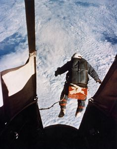 August 1960. Capt Kittinger jumping from the Excelsior gondola at 102,800 feet, more than 31 kilometres (19 mile), setting a world record. He was also the first man to make a solo crossing of the Atlantic Ocean in a gas balloon. He served as a fighter pilot during the Vietnam War, and was shot down, spending 11 months as a POW in a North Vietnamese prison. In 2012, age 84, he participated in the Red Bull Stratos project as capsule communicator, directing Felix Baumgartner.