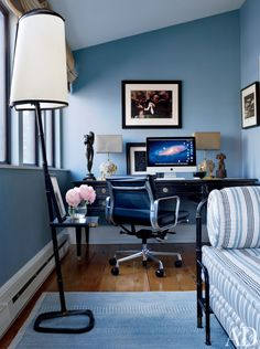 home office in layered blues
