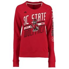 Women's adidas Red NC State Wolfpack Logo Lines Slant French Terry Sweatshirt