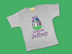 Easter Egg Hunter Boys Shirt with Embroidered Name by SunbeamRoad, $24.00