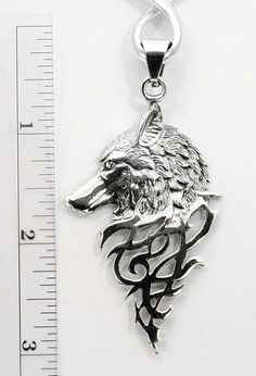 Sterling Silver Mystical Celtic Spirit Wolf Pendant Taxco Mexico