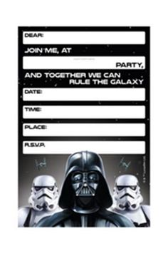 Star Wars Invitations| Darth Vader Party Products | Birthday Party Invitations