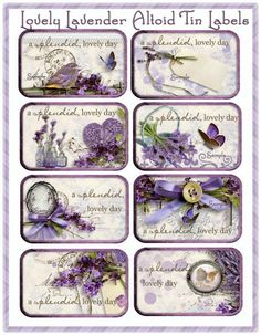 Lovely Lavender Altoid Tin Cottage Chic Set of 8 Labels