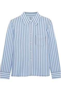 """Classic checks and stripes make ideal accents to a pared-back palette,"" says The EDIT. Made from soft cotton, Prada's blue, white and black shirt has a sharp pointed collar and slightly cropped sleeves. We like it styled with tailored pants or layered under a top as seen on the Spring '17 runway."