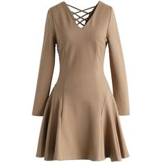 Chicwish Sweet Cross-back Flare Dress in Tan (€55) ❤ liked on Polyvore featuring dresses, brown, tan dress, brown dress, fit and flare dress, flared dress and cross back dress