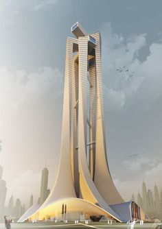 """The project designed as an """"Architecture School Tower"""" by Niculae Grama, Valentin Ionascu, Mihai Chisarau and Marius Pandele from Romania Dubai Architecture, School Architecture, Beautiful Architecture, Contemporary Architecture, Art And Architecture, Classical Architecture, Unusual Buildings, Amazing Buildings, Modern Buildings"""