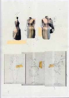 Fashion Sketchbook page with dress design development through draping experiments and sketches; fashion portfolio // Harry Pontefract