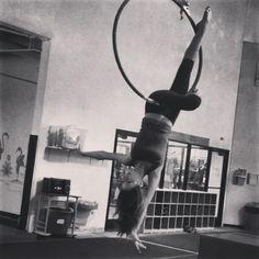 Aerial hoop/ Lyra   Upside down trick!