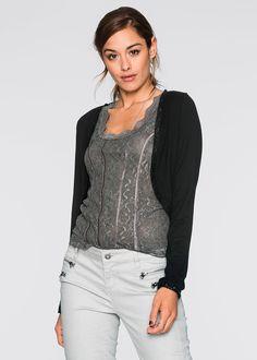 Czarne bolerko z długim rękawem  #bolerko #bolero #sweter #sweterek Tops, Women, Fashion, Damask, Model, Moda, Women's, La Mode, Shell Tops