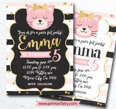 Cat Invitation Kitten Invitation Kitty Cat birthday