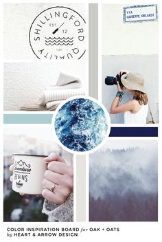 Cool Blue and Gray Color Inspiration Board  /  Blue Blog Design Inspiration  /  by Heart & Arrow