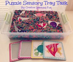 Here is a fun Puzzle Sensory Tray Task. Wanting a NEW way to play with puzzles or are you children bored with putting together puzzles? Incorporate the senses with puzzle play to make puzzle making a lot more FUN!!! By Creative Learning Fun