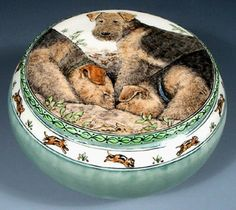 Big Dig Airedales - Porcelain jar by Nan Hamilton (of Boston, MA)