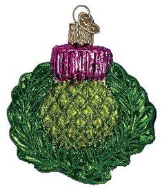 Old World Christmas Scottish Thistle Glass Ornament