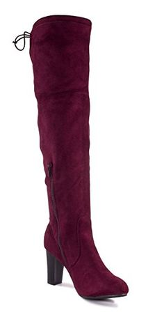 7cf2af47a95 Charles Albert Women s Suede Thigh High Over-The-Knee Stacked Heeled Boot  Review Thigh