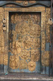 The door of the Shiva temple at Lakhamandal, Uttarakhand, India