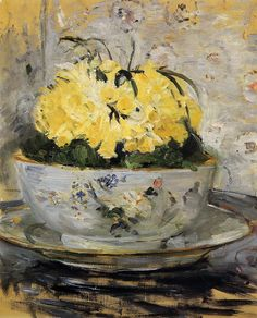 ❀ Blooming Brushwork ❀ - garden and still life flower paintings - Daffodils, Berthe Morisot, 1885