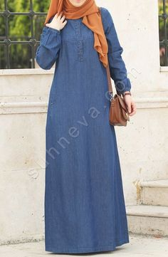 Denim Dress with Front Button – Navy Blue – Hijab Clothing & Fashion Islamic Fashion, Muslim Fashion, Abaya Fashion, Fashion Outfits, Mode Abaya, Abaya Designs, Hijab Chic, Islamic Clothing, Jeans Dress