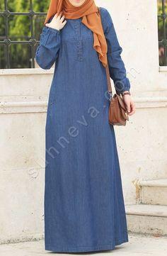 Denim Dress with Front Button – Navy Blue – Hijab Clothing & Fashion Abaya Mode, Mode Hijab, Abaya Designs, Hijab Jeans, Jeans Dress, Islamic Fashion, Muslim Fashion, Abaya Fashion, Fashion Outfits