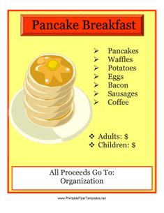 Great for church functions, sports parties and fundraisers, this free, printable flyer announces a pancake breakfast. Free to download and print