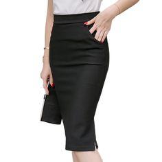 Women's Plus Size S-5XL  OL Skirt Slim Sexy High Waist Pencil Office Skirt Elegant  Ladies Business Work Wear Skirts Black Red