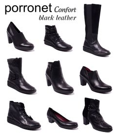 Black Leather by Porronet Confort www.porronet.es #Piel #Zapatos #Shoelover #shoes #botas #botines #Calzadoespañol