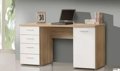 Features: Sonoma oak finish with white details With 1 door and 1 drawer Features plastic handles Material: Wood Desk Type: Writing desk Height Adjust Modern Desk, Office Equipment, Storage Spaces, Office Desk, Corner Desk, Drawers, Inspiration, Furniture, Home Decor