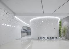 relaxed and cozy with a generous green-wall bringing color and vitality to the muted space, lily nails provides a welcoming atmosphere for clientele.
