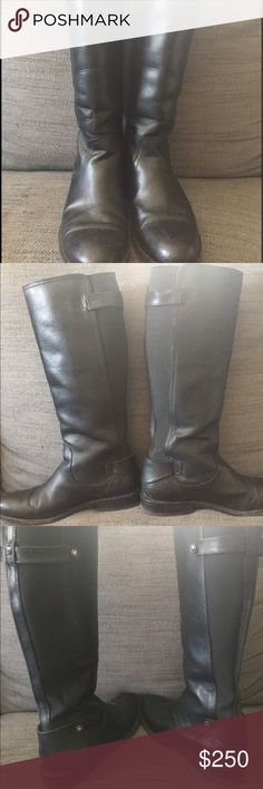"""EUC Frye Molly Gore tall boots, black, 7.5 EUC Frye Molly Gore tall boots in black, 7.5. Buffalo leather in excellent condition and although the bottoms of the boots have some wear (see picture) the heels and bottoms have TONS of life left in them. Won't need to be re-soled for many years. Leather isn't scratched and the inside of the boots are also in excellent condition. Heel is 1"""" and the boots are 15"""" tall. These are pull on boots without a zipper. If they weren't slightly too small for…"""