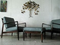 Pair Danish Modern Lounge Chairs & Ottoman by DUX . Amazing Chairs just RESTORED   Mad Men Furniture - Danish Modern Furniture. $3,295.00, via Etsy.