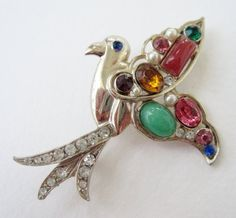 Vintage 40s Mid Century Hollywood Regency Goldtone Multicolor Rhinestone Faux Pearl Lucite  Bird Brooch Pin by ThePaisleyUnicorn, $18.00