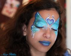 Butterfly by Nurit Pilchin Face Painting Images, Face Painting Designs, Body Painting, Face Paintings, Butterfly Face Paint, Blue Butterfly, Extreme Makeup, Flower Fairies, Paint Set