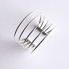 """Prominent silver bracelet, a spectacular piece of statement jewelry made of five pieces of sturdy sterling silver wire - """"Small Rods Cuff"""""""