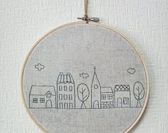 Hand embroidery in hoop Embroidery Wall Art House.  I love these!!!