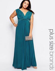 Goddiva+Plus+Maxi+Dress+With+Knot+Front