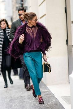 Olivia Palermo wears a purple fur coat blue pants sunglasses outside Elie Saab during Paris Fashion Week Haute Couture Spring/Summer 2018 on January. Olivia Palermo Street Style, Fashion Week, Fashion Outfits, Paris Fashion, Womens Fashion, Fashion Mode, Street Looks, Mode Chic, Winter Mode