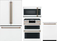 Would like to have matte white appliances depending on whether the base cabinets are dark grey or white. Cafe 4 Piece Kitchen Appliances Package with French Door Refrigerator, Electric Range, Dishwasher and Over the Range Microwave in Matte White Rustic Kitchen, New Kitchen, Kitchen Ideas, French Kitchen, Kitchen Trends, Long Kitchen, Kitchen Hacks, Kitchen Designs, Brass Kitchen