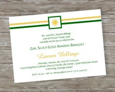 Girl Scout Award Ceremony invitations. Order the digital file from my ETSY shop or printed invitations at www.ItsAllAboutTheCards.com Girl Scout Swap, Girl Scout Troop, Girl Scouts, Girl Scout Silver Award, Bronze Award, Girl Scout Juniors, Senior Girls, Family Life, Green And Gold