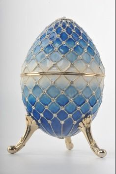 Big Blue Faberge Egg by Keren Kopal Handmade Decorated with Swarovski Crystals Gold Plated Blue Enamel Painted