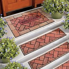 Bricks Around Mat And Stair Tread Have A Recycled Rubber Base That Help  Keep Them In Place. The Doormat And Stair Tread Features A Flocked Grit  Surface With ...