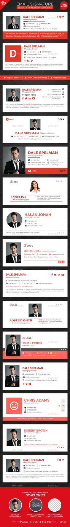 15 Email Signature Templates - HTML Files Included                                                                                                                                                                                 Más