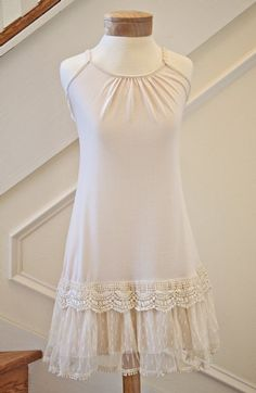 Women's Shabby Chic Ivory Lacy Bottom Dress