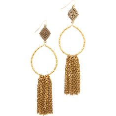 Vanessa Mooney The Hailey Hoop Earrings (1,925 INR) ❤ liked on Polyvore featuring jewelry, earrings, etched jewelry, earring jewelry, hoop earrings, gold plated hoop earrings and fringe earrings