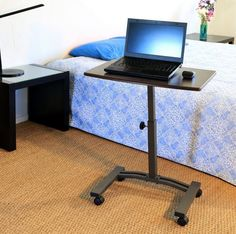 Rolling Laptop Desk Cart Table Stand Portable Home Office Mobile Adjustable  #SevilleClassics