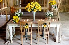 More rustic wedding sunflower table decoration - alfloral.com