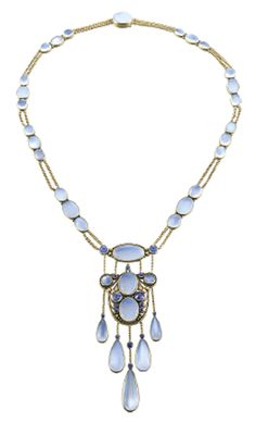 Necklace, Frank Gardner Hale, American. Gold, moonstone, Montana sapphire. Siegelson, New York.