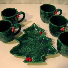 Vintage Christmas Leftons Green Holly Christmas Tree Candy Dish and/or Mugs, Japan. Made by Lefton in the 1960s. We have 6 items total -- one