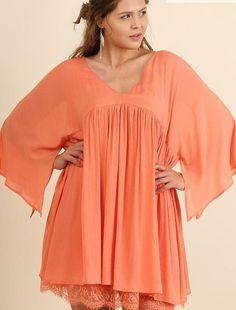 Summer Soiree Tunic / Mini Dress Layered Lace Hem Criss Cross Back Dusty Peach Plus XL 1XL 2XL